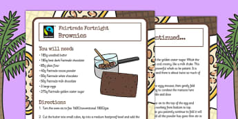 Fairtrade Fortnight Brownies Recipe Sheets - fairtrade, brownies, recipe, weeks