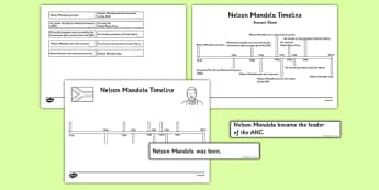 Nelson Mandela Timeline Cut and Paste Activity - nelson mandela