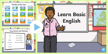 Basic English PowerPoint - EAL, new starter, basic phases, english greetings