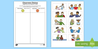 Classroom Choices Cutting Skills Activity Sheet English/Romanian - Back to School, worksheet, good choices, poor choices, cutting, first day of school, fine motor, wor