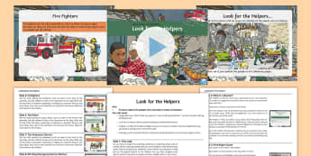 Look for the Helpers Whole School Assembly Pack - terrorist attack, courage, helping, disaster, caring, kind, assemblies, people who help us, powerpoi