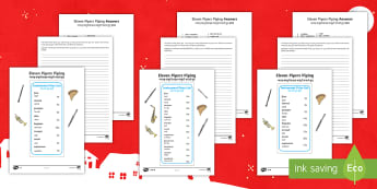 Eleven Pipers Piping Activity Sheet English/Hindi - Christmas Maths, money, how much, altogether, total, add, addition, sum, equals, more than, greater