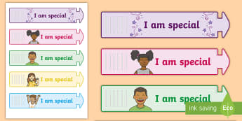 I Am Special Wristband - I am special, unique, sPHE, RSE, Myself, Me, all about me, relationship and sexuality education,Iris