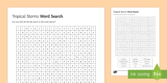 Tropical Storms Word Search Activity Sheet - The Challenge of Natural Hazards AQA GCSE, worksheet, meteorologist, polar, storm.