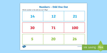 Numbers   Odd One Out Activity Sheet - Odd One Out, numbers, verbal, reasoning, discussion, debate, maths, even, odd, starter