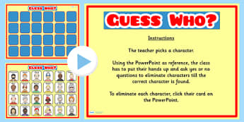 Guess Who Interactive Class Game PowerPoint - class games, games