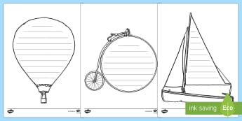 Transport Themed Writing Frames - writing, creative writing, transport, planes, cars,