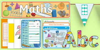 ROI First and Second Class Maths Working Wall Display Pack - mathematics, numeracy, maths wall, Irish, hundred square, symbols, lettering, maths area