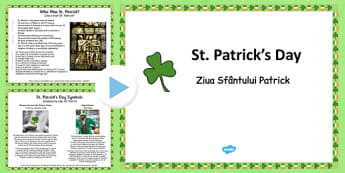 St Patrick's Day Informative PowerPoint Romanian Translation - romanian, patrick, st patricks day