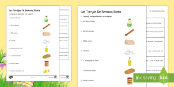 Spanish Easter Dish Recipe Worksheet / Activity Sheet - Spring, Easter, KS3, Spanish, recipe, dessert, dish, worksheet