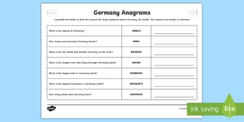Germany Facts Anagrams Puzzle - German  - Germany, German, MFL, Languages, Europe, KS3 German, German Culture, Deutschland