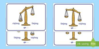 Plakaty Porównywanie wagi - Weight, ważenie, zważ, matematyka, mierzenie, miara,Polish