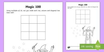 Magic 100 Grid Worksheet / Activity Sheet - 100 Days of School, challenge, one hundred, multiples, ten, times table, lots of, groups, find, tota