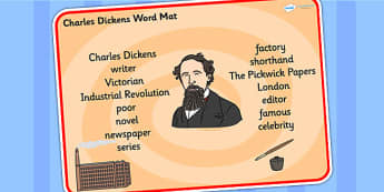Charles Dickens Word Mat - charles dickens, word mat, topic words, topic mat, themed word mat, writing aid, mat of words, key words, keywords, key word mat