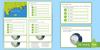 Hurricane Harvey Fact File Comprehension Question Cards -  irma, Flooding, Storm, Storm Surge, Texas, Louisiana, weather, extreme, tropical storm, disaster, 2