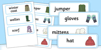 Winter Clothes Word Cards - winter clothes, word cards, winter, clothes