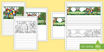 Black and White Lined Writing Frames to Support Teaching on Elmer - elmer, elmer the elephant, elmer writing frames, elmer colour and write, elmer writing templates, storybook