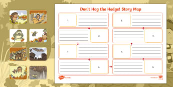 Don't Hog the Hedge! Story Map - Twinkl Originals, Fiction, Autumn, Hibernate, Woodland, Animals, ordering events, sequencing events,