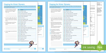Mapping the Winter Olympics Activity Pack - Winter Olympics, Host cities, World Map, Distribution, PyeongChang, atlas, hemisphere, tropics,