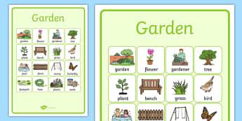 Garden Vocabulary Poster - garden, vocabulary, poster, display, back garden, outside, home