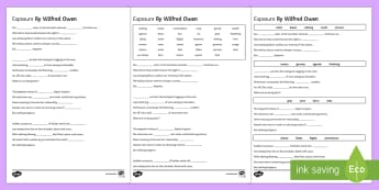 Poetry Cloze Differentiated Activity Sheets to Support Teaching on 'Exposure' by Wilfred Owen - poetry, anthology, aqa, wilfred owen, cloze, poem, exposure, war, horror