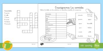 Ficha de actividad: Crucigrama: La comida - Inglés - food, english, lengua extranjera, crossword,Spanish-translation