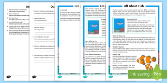 Fish Comprehension Activity Sheet English/French - Fish Differentiated Reading Comprehension Activity - fish, differentiated, comprehesion, comprehnsio