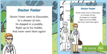 Doctor Foster Nursery Rhyme Poster - rhymes, display, songs