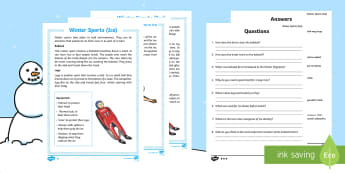 KS1 Winter Sports on Ice Differentiated Reading Comprehension Activity - Winter 2016/17, sports, athlete, compete, fun, competition, skiing, cross-country, speed skiing, fig