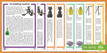 Halloween Differentiated Reading Comprehension Activity English/Afrikaans - October, witch, cat, spooky, haunted, Oktober, heks, EAL