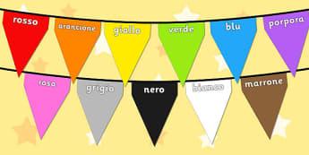 Colours on Bunting Italian - colour, display, keywords, italy, italian, languages, translated