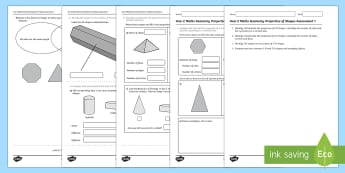 Year 2 Maths Geometry Properties of Shapes Assessment 1 Assessment Test - year 2, assessment, shapes, 2d shapes, 3d shapes,Australia