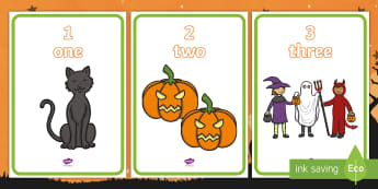 Halloween Themed 1-10 Word and Number Display Posters - counting, Maths, October, Oíche Shamhna, one to ten