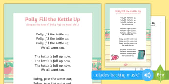 Polly Fill the Kettle Up Song - singing, song time, filling, emptying, pouring, measurement, shape, space and measure,