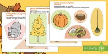 Autumn Themed Cutting Skills Activity Sheet English/French -  fine motor skill, season,autumn activity sheet