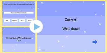 Recognising Word Classes SPaG Grammar PowerPoint Quiz - SPaG, ppt