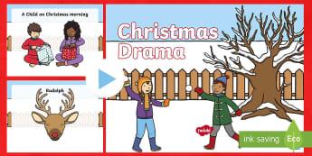 Early Level Christmas Drama PowerPoint - xmas, role play, characters, Santa, expressive Arts,Scottish