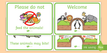 Zoo Role-Play Signs - zoo, role-play, signs, pretend, animals, display, labels, tickets,