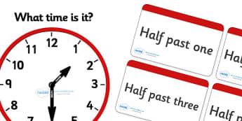 Clock Matching Game - Half Past - education, home school, child development, children activities, free, kids, math games, worksheets, number work