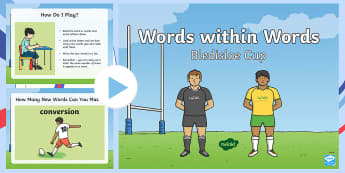 Bledisloe Cup Words within Words PowerPoint - bledisloe cup, words, vocab, vocabulary, rugby, tournament, championship, sport, football,Australia