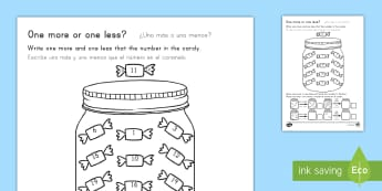 One More One Less Sweet Counting Worksheet / Activity Sheet US English/Spanish (Latin) - One More One Less Candy Counting Worksheet - count, numeracy, countng, couting, numracy, fewer, cout