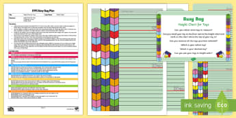 EYFS Height Chart for Toys Busy Bag Plan and Resource Pack - Maths, shape space and measure, measuring, height order, tall