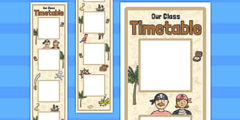 Pirate Themed Vertical Visual Timetable Display - display, timetable