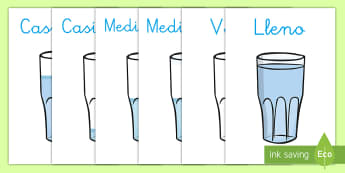 Póster DIN A4: Vocabulario de capacidad en vasos - CI - medida, capacidad, mates, medir medida, medir capacidad, lleno, vacio decoración, decorar, exponer,