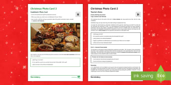 Christmas 2 Higher Tier Photo Card Activity Spanish - Speaking, Describing, Customs, Festivals, Celebrations
