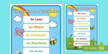 Póstaer Taispeána: Laethanta na Seachtaine - Taispeántas, Display, Laethanta Na Seachtaine, Days Of The Week, Comharthaí Ranga, Classroom Signs