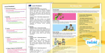 PlanIt French Year 3 All About Me Planning Overview-Australia