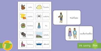 Dominos: La Ñ Dominos - Juego, lecto, leer, lectura, fonemas, sonidos, didáctico, consonantes, Spanish