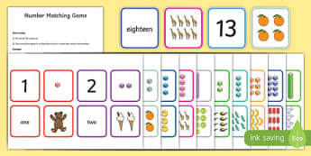 1-20 Number Matching Card Game - 1-20, matching, cards, match, number, game, activity