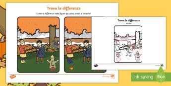 Trova le differenze in autunno Attività - autunno, autunnale, differenze, sbagli, immagini, osservare, visualizzare, materiale, scolastico, it
